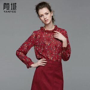 颜域品牌女装2017夏季新款复古雪纺印花木耳边领衬衫袖宽松上衣女