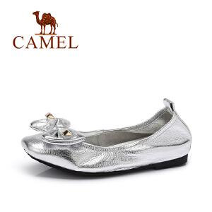 Camel/骆驼女鞋 春季新款平底鞋蝴蝶结浅口单鞋女平跟鞋子