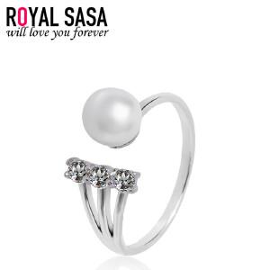 皇家莎莎s925银戒指女食指指环开口日韩版贝珠仿水晶简约时尚饰品