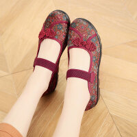 老北京布鞋女鞋春秋休闲妈妈鞋中老年老人防滑耐磨平跟软底浅口鞋