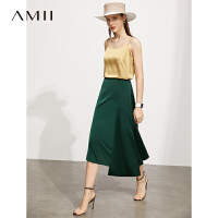 Amii极简法式缎面雪纺半身裙2021夏新款不规则