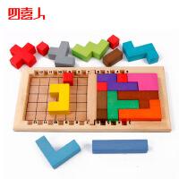 木制玩俄罗斯方块 卡塔米诺挑战金头脑百变方块智力拼搭积木