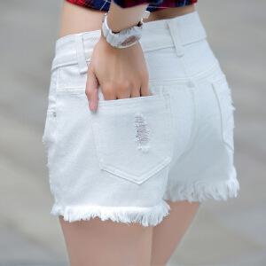 Modern idea2017夏新款白色破洞女装牛仔短裤女韩国简约宽松修身显瘦短裤