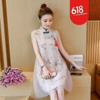 新款女装民族风连衣裙中国风旗袍改良唐装中式长裙子夏季GH17701 图片色