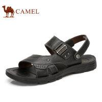 camel骆驼凉鞋 男 夏季新款 牛皮露趾沙滩鞋 真皮休闲男士凉拖鞋