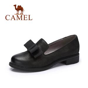 camel/骆驼女鞋 秋季新款 简约英伦风牛津鞋单鞋女低跟套脚女皮鞋