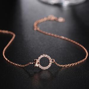 罗曼蒂珠宝18K玫瑰金钻石手链女款时尚简约腕饰链子需定制