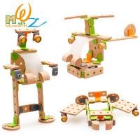 木制儿童玩具益智拆装榉木益智仿真工具车玩具儿童3D交通飞机