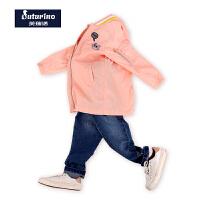 【满200减100】芙瑞诺童装女童秋装棒球衣长款风衣中童外套