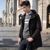 【1.5折价149.9元】唐狮冬季新款羽绒服男青少年可拆卸帽中长款修身外韩版套潮