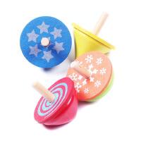 木制五彩旋转陀螺套装 儿童益智彩色陀螺玩具
