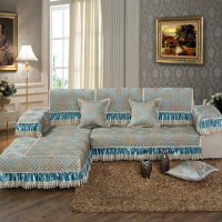 四季通用布艺沙发垫全盖坐垫欧式全包简约现代沙发套罩巾3D绣沙发垫