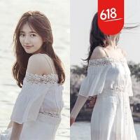 原创巴厘岛马尔代夫海边度假沙滩裙波西米亚长裙白色一字肩吊带连衣裙GH032 白色【送透明肩带】