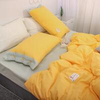 北欧风棉纯色双拼四件套纯棉被套三件套简约素色床单床上用品秋