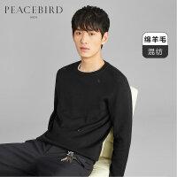 太平鸟男装 冬季新款兔子刺绣圆领羊毛衫修身保暖套头针织衫毛衣