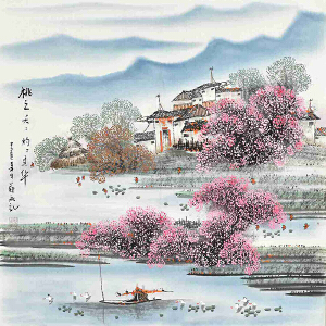 当代著名画家薛永69 X 69CM山水画gs01518
