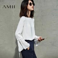 Amii[极简主义]2017秋装新款纯色绑带喇叭长袖大码雪纺衫11740232