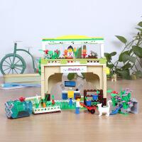 正品万格DIY手工城市女孩系列益智积木玩具小花园32211N