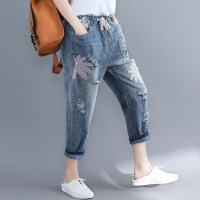 大码牛仔裤胖mm显瘦宽松胖妹妹女装秋装2018新款大腿粗的女生裤子 蓝色