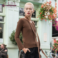 生活在左2018秋季新款长袖收腰显瘦V领慵懒羊绒毛衣针织衫喇叭袖