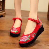 春秋季老北京民族风布鞋高跟女鞋坡跟绣花鞋布鞋厚底平底女单鞋子 9号 红(高跟)