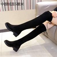舒适好看!时尚新品过膝长靴中跟长筒靴女低跟粗跟马靴高筒靴2018新款秋冬女靴青春靓丽