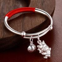 鸡宝宝银手镯999银婴儿银手镯儿童个性银饰满月礼品套装