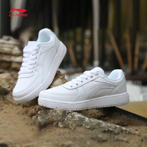 李宁休闲鞋女鞋Superwave耐磨防滑皮面滑板鞋运动鞋AGCM104