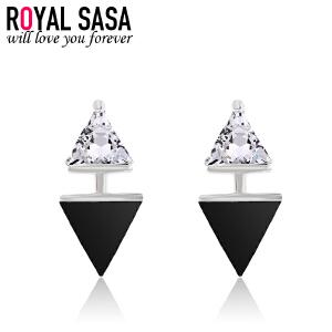 皇家莎莎三角形耳钉女925银仿水晶几何耳环耳坠日韩版时尚耳饰品