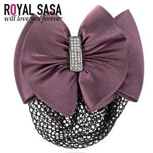 皇家莎莎RoyalSaSa头花职业头饰 员工发卡 职员蝴蝶结发夹上班发网护士盘发马尾夹