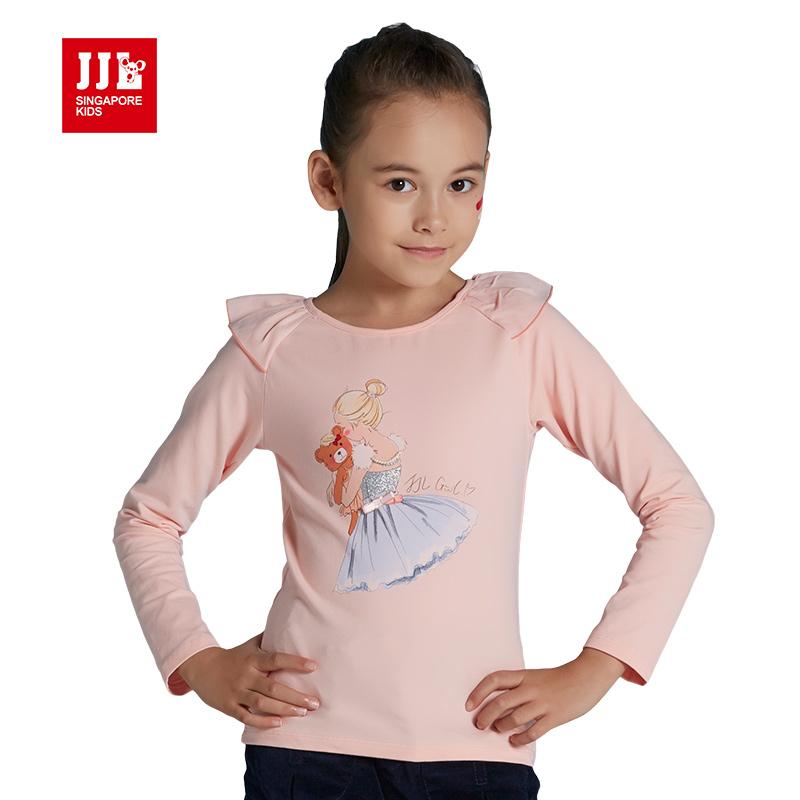 jjlkids季季乐2017新款女童长袖t恤春秋儿童圆领卡通图案上衣女GQT61158