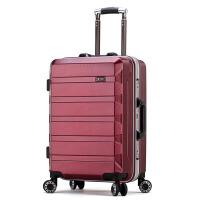 结婚拉杆箱新娘结婚箱子陪嫁妆箱红色行李箱防刮旅行箱铝框密码箱 酒红色 壁纸纹防刮