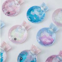 创意卡通流沙透明热水袋日系女生小号PVC炫彩注水暖手宝