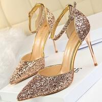 来自星星的你银色尖头高跟鞋细跟渐变色亮片中跟单鞋伴娘婚鞋女33