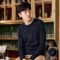 太平鸟男装 冬季新款时尚刺绣舒适圆领青年潮流羊毛衫个性针织衫