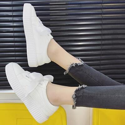 2019秋季新款丝带蝴蝶结小白鞋女松糕厚底皮面学生透气系带女单鞋 白色