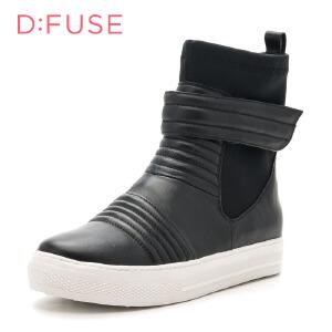 D:Fuse/迪芙斯冬季圆头魔术粘松糕底舒适短靴女鞋DF64117317