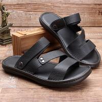 凉鞋男真皮软底牛皮休闲沙滩鞋夏季新款牛筋底男士凉拖鞋两用