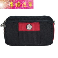 新品.寸男腰包穿皮带横款寸手机包大容量户外老人手机套女手机腰包 红色 有插卡槽