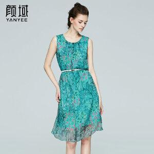 颜域品牌女装2017夏季新款重磅真丝品牌无袖桑蚕丝印花长款连衣裙