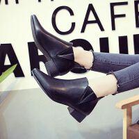 绿色加绒秋冬女靴欧美时尚百搭英伦粗跟尖头裸靴中跟马丁靴女短靴 黑色(单款) 35
