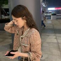 2019秋季女装长袖圆领单排扣气质小香风学生宽松短外套女
