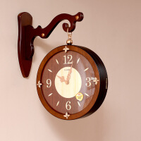 两面挂钟 天蓝新中式实木双面挂钟客厅创意钟表潮流两面美式时钟家用复古石英钟 15英寸