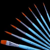 尼龙水彩毛笔手绘丙烯油画勾线笔套装平头水粉排笔初学者美术颜料笔