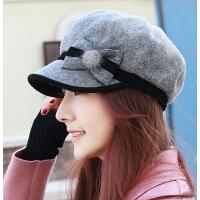 新品女士呢子八角帽夹棉鸭舌帽 时尚潮流妈妈帽画家帽