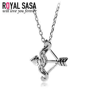 皇家莎莎925银项链女甜美仿水晶箭头吊坠简约爱神之箭锁骨链送女友礼物