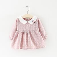 女童裙子春秋�b�和�娃娃�I�B衣裙0一1-2-3�q��号������L袖公主裙 粉�t色 淡雅如菊