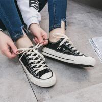 货到付款  经典女士帆布鞋女学生小白鞋平底白色休闲鞋板鞋韩版百搭布鞋系带户外旅游鞋