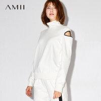 Amii[极简主义]镂空长袖毛衣女2017秋装新款高领直筒棉质弹力卫衣