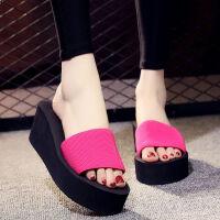 拖鞋女夏泡沫高跟防滑一字拖时尚外穿韩版厚底沙滩鞋女士凉拖鞋 玫红色 【跟高7cm】
